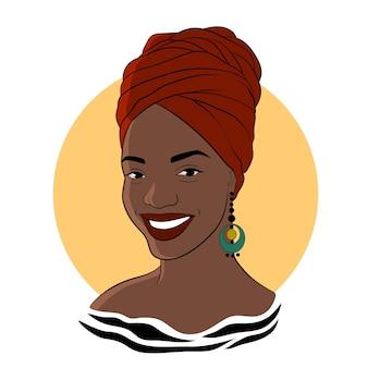 Donna nera. ragazza afroamericana in turbante rosso. illustrazione di moda