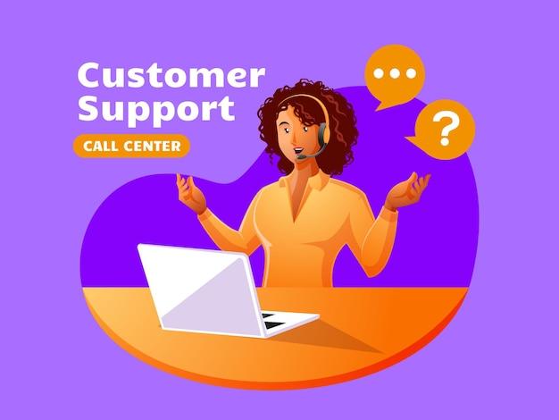 Il call center dell'assistenza clienti della donna di colore lavora per rispondere ai reclami dei clienti