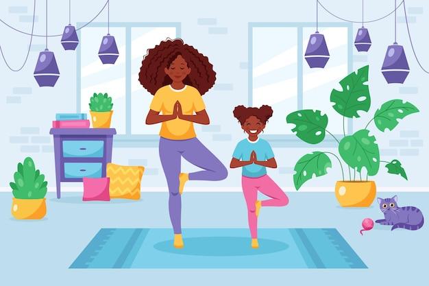 Donna di colore che fa yoga con la figlia in interni accoglienti famiglia che trascorre del tempo insieme