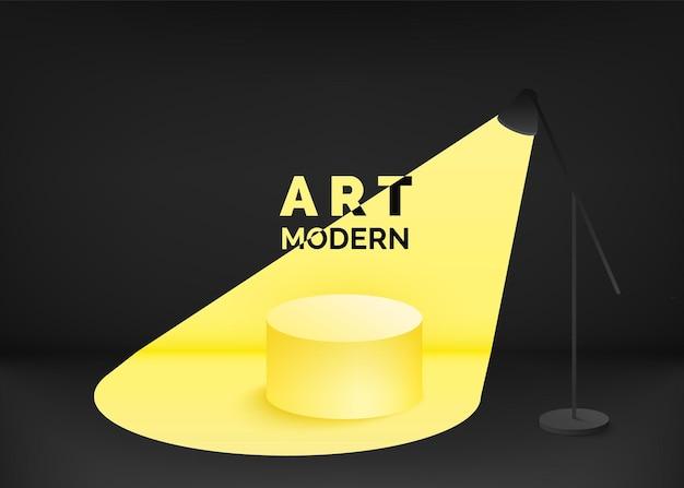 Podio vuoto contemporaneo di design nero e giallo