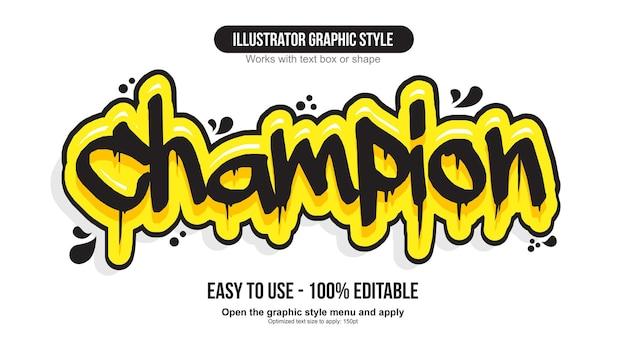 Effetto di testo graffiti con pennarello gocciolante nero e giallo