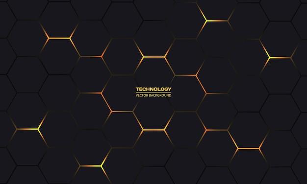 Fondo astratto di tecnologia esagonale nera e gialla