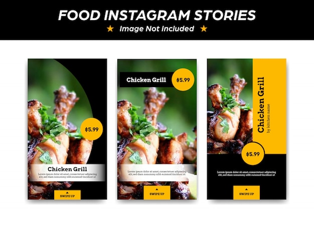 Modello di social media di storia giallo nero instagram per ristorante grill o promozione di bistrot