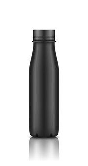 Modello di bottiglia di plastica di yogurt nero isolato su sfondo bianco