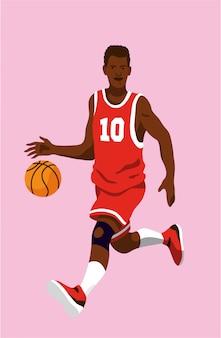 Giovane giocatore di pallacanestro nero che corre e che rimbalza la palla che indossa una maglia rossa con il numero 10. illustrazione editabile.