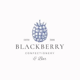 Blackberry pasticceria segno astratto, simbolo o modello di logo.