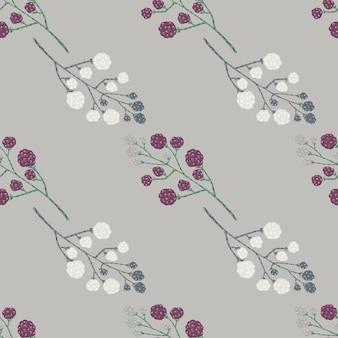 Ornamento di doodle di blackberry con reticolo senza giunte di bacche bianche e viola.