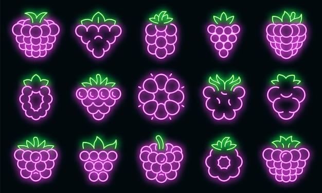 Icone di mora impostate. contorno set di icone vettoriali blackberry colore neon su nero