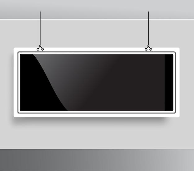 Lavagna appesa al soffitto mockup di modello di lavagna nera vuota elegante moderna lucida posizionare il prodotto foto logo di testo
