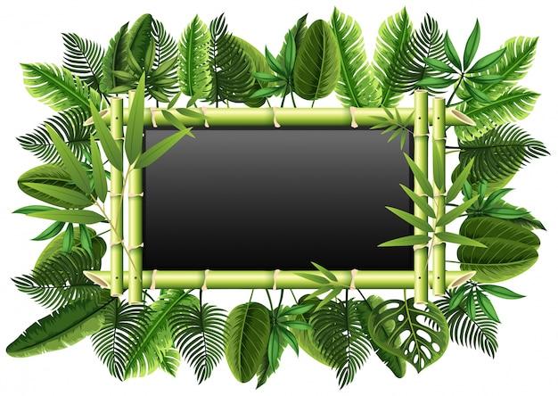 Lavagna con foglie di bambù e verdi