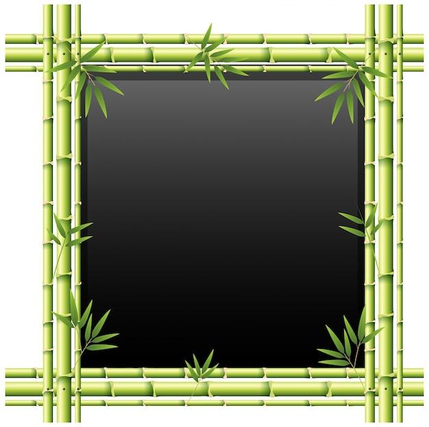 Lavagna con bastoni di bambù verdi