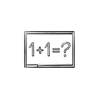 Lavagna con icona di doodle di contorni disegnati a mano compito di matematica. uno più un'equazione sull'illustrazione di schizzo di vettore di lavagna per stampa, web, mobile e infografica isolato su priorità bassa bianca.