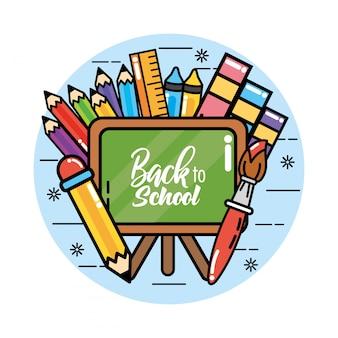 Lavagna con colori matite e righello per tornare a scuola