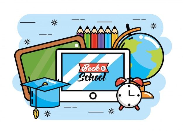 Lavagna con tavolo e mappa globale a scuola