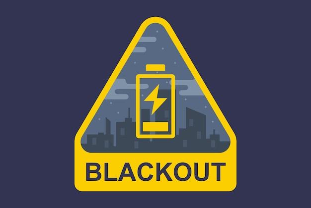 Segno di blackout su uno sfondo di città. la batteria è scarica. illustrazione vettoriale piatto.