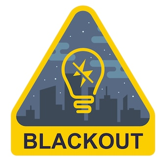 Segno di blackout. triangolo giallo con una lampadina su uno sfondo di città. illustrazione vettoriale piatto.