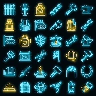 Set di icone di fabbro. contorno set di icone vettoriali fabbro colore neon su nero