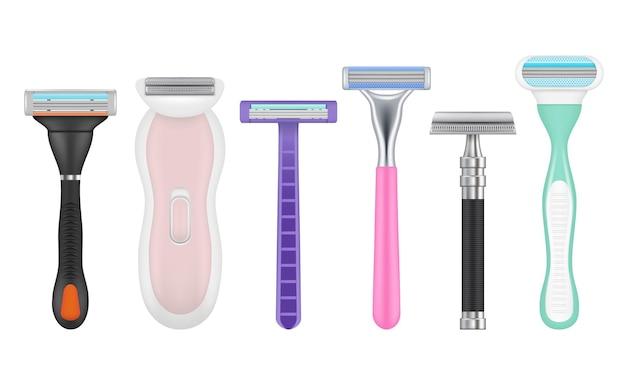 Lame realistiche. set di immagini di accessori per la depilazione di strumenti di rasoio uomo e donna.