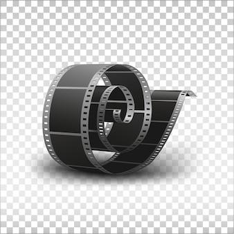 Illustrazione isolata bobina di pellicola fotografica in bianco da 35 mm