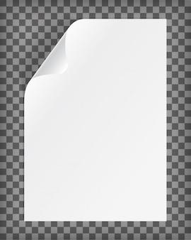 Foglio di carta a4 bianco con angolo arricciato