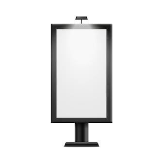 Manifesto del tabellone per le affissioni della pubblicità in bianco su fondo bianco - display vuoto per banner pubblicitario all'aperto, illustrazione realistica.