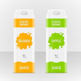 Scatola di branding in cartone vuoto di mela o succo d'arancia. confezione in cartone di succo o latte. bere una piccola illustrazione della scatola.