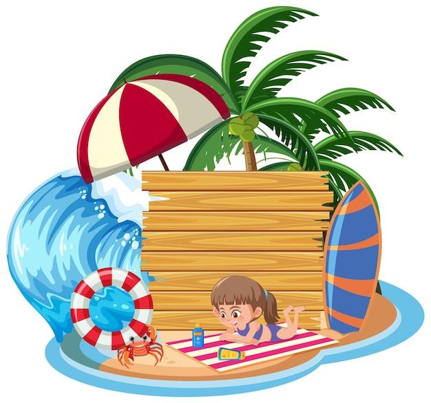 Modello di banner vuoto con molti bambini in vacanza estiva in spiaggia isolata