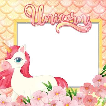 Banner in bianco con simpatico personaggio dei cartoni animati di unicorno