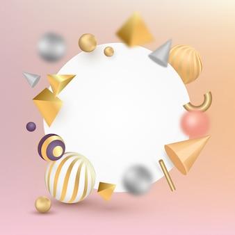 Insegna in bianco con effetto geometrico di forme 3d sulla superficie di pendenza.