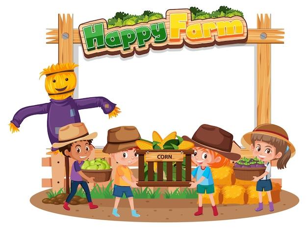 Banner in bianco con logo happy farm e bambini contadini isolati su priorità bassa bianca