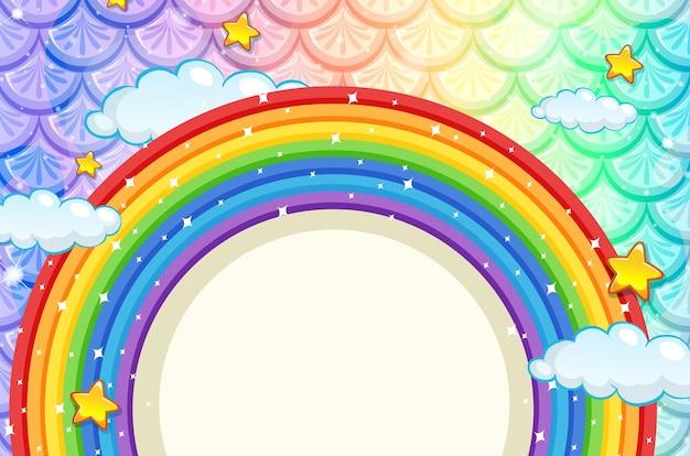 Banner in bianco con cornice arcobaleno su squame di pesce colorato
