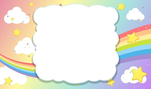 Bandiera in bianco con il tema del cielo arcobaleno su sfondo pastello arcobaleno