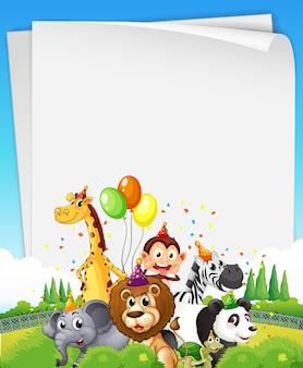 Banner in bianco con animali selvatici in tema di festa