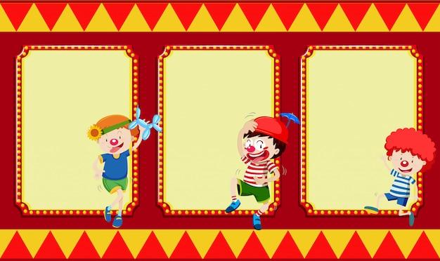 Banner bianco con i bambini del circo