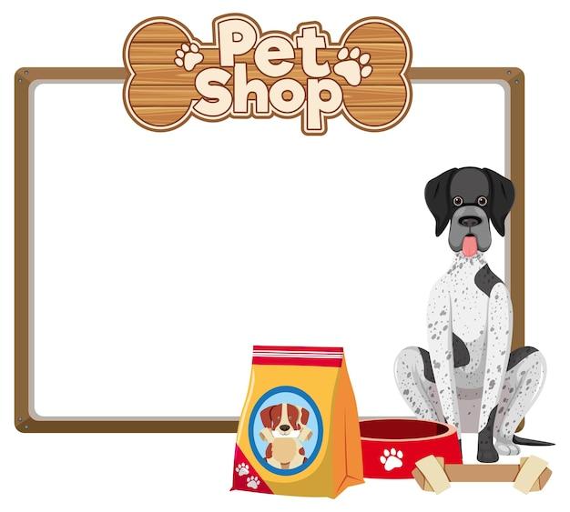 Bandiere in bianco con logo carino cane e negozio di animali isolato su priorità bassa bianca