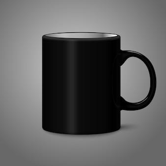 Foto nera vuota realistica isolata sulla tazza grigia