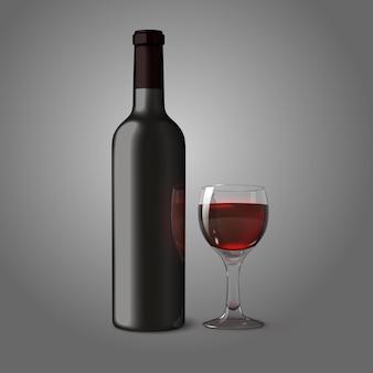 Bottiglia realistica nera vuota per vino rosso con bicchiere di vino isolato su sfondo grigio