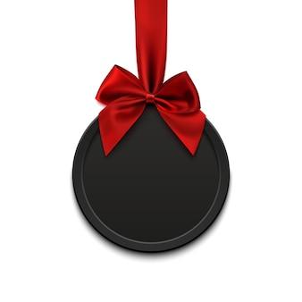 Banner rotondo vuoto, nero con nastro rosso e fiocco, su sfondo bianco. illustrazione.