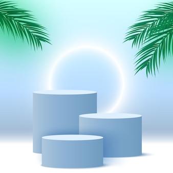 Podio blu vuoto con foglie di palma e piattaforma espositiva per prodotti cosmetici con piedistallo ad anello luminoso