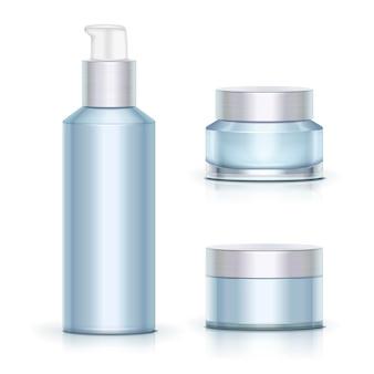 Contenitori per la cura della pelle blu in bianco impostati su superficie bianca in stile 3d