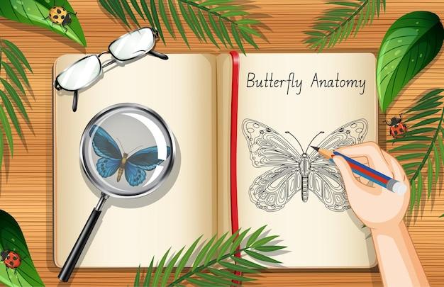 Pagina del libro in bianco sulla vista del piano di lavoro dell'ufficio con l'elemento delle foglie e degli insetti