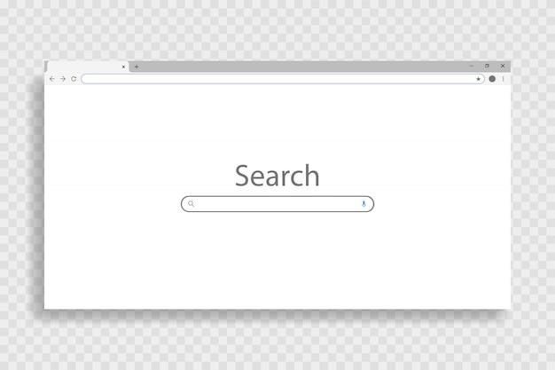 Finestra del browser vuota sul pc, su sfondo trasparente. pagina web di windows con un layout vuoto. illustrazione