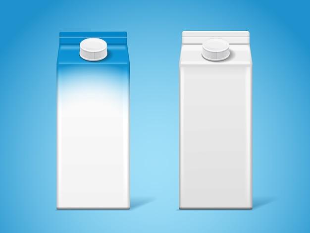 Scatole di latte in cartone vuoto o contenitore di carta per latticini