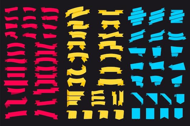 Insieme di vettore isolato contrassegno dell'insegna del cartellino del prezzo dell'etichetta variopinta in bianco. bandiera del nastro glifo. set di nastri multicolori. banner illustrazione vettoriale