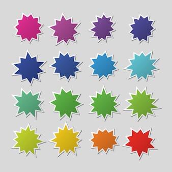 Palloncini starburst di carta colorata in bianco, forme di esplosione. insieme di vettore degli autoadesivi di vendita dell'asta isolato