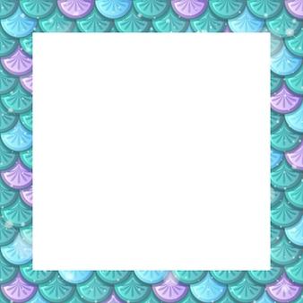 Modello di cornice di squame di pesce colorato in bianco