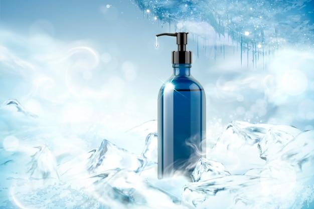 Prodotto detergente di raffreddamento in bianco su sfondo congelato