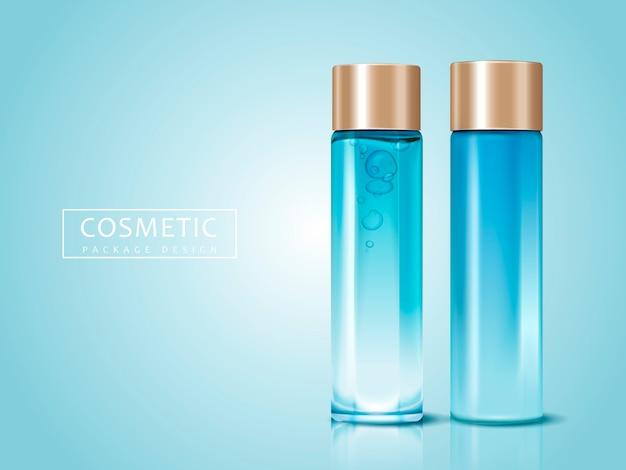 Flaconi per la cosmetica vuoti per usi, possono essere utilizzati come elementi di design, sfondo azzurro