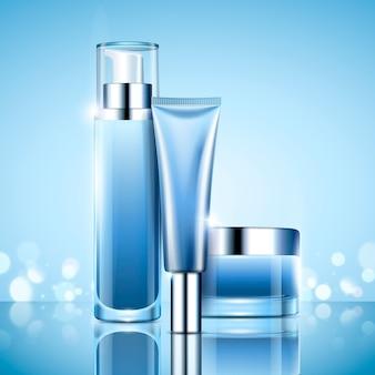 Set di contenitori per cosmetici in bianco, bottiglia di serie azzurra e barattolo per usi in illustrazione, sfondo bokeh