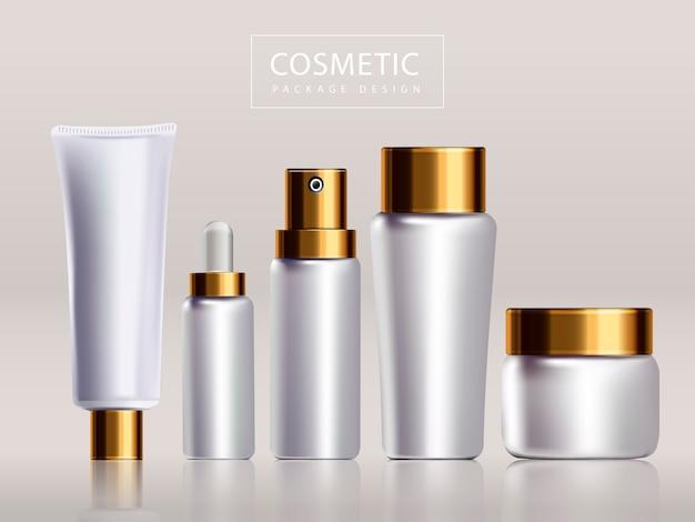 Progettazione in bianco del pacchetto cosmetico, bottiglie bianche e coperchi dorati isolati nell'illustrazione 3d